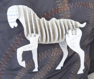 cardboard ribs give body to the horse