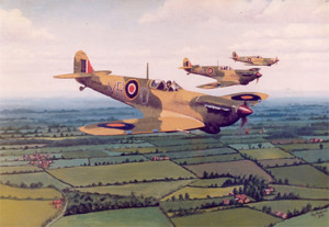 Spitfires over the English countryside