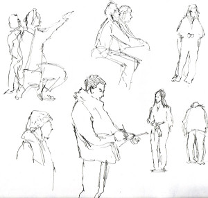 second group with sketching man