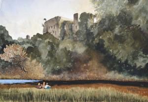 Cockermouth Castle gouache